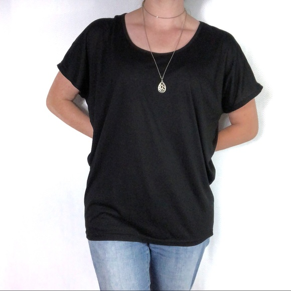 ac76097363bd7 Bobbie Brooks Tops - Solid Black Dolman Short Sleeve Tee Size Medium